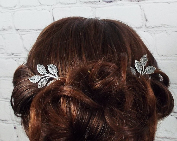 Antique Silver Branch Leaves Bridal Hair Bobby Pin Set