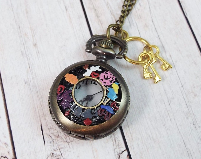 Petite Alice in Wonderland Pocket Watch Necklace Pendant - Drink Me, White Rabbit, Keys, Red Queen, Chesire Cat by Split Personality Designs
