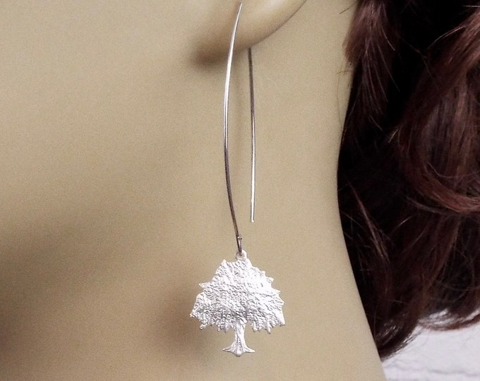 Weeping Willow Modern Design Long Dangle Earrings