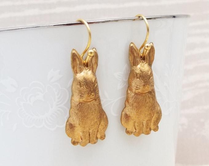 Brass Rabbit Dangle Drop Earrings - Watership Down