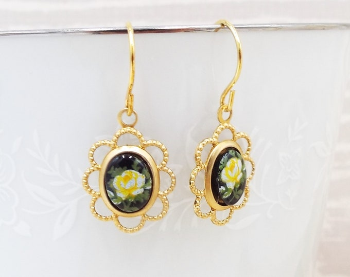 Yellow Rose on Black Gold Cameo Drop Dangle Earrings