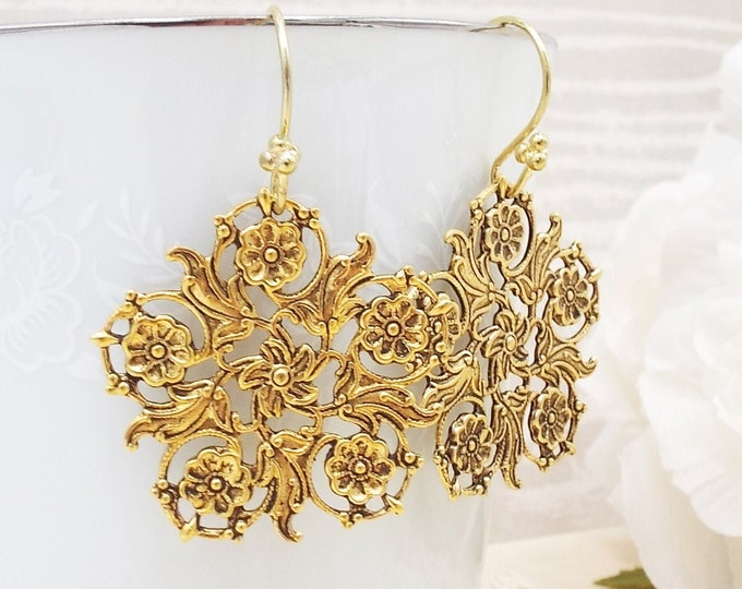 Gold Floral Filigree Dangle Earrings