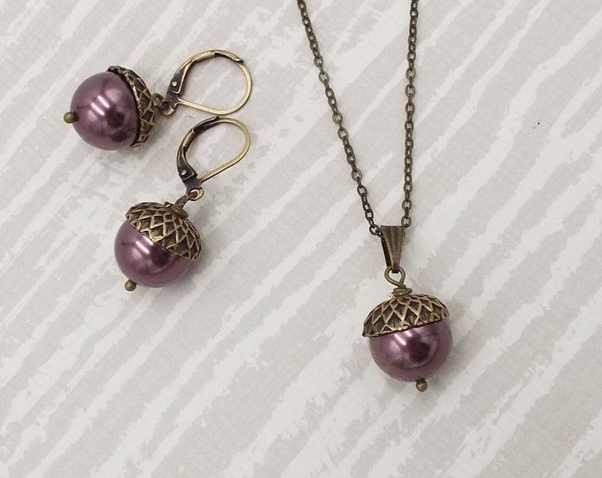 Burgundy Bronze Pearl Acorn Earrings Pendant Jewelry Set - Nature Inspired Rustic Jewelry by Rachelle Thorpe