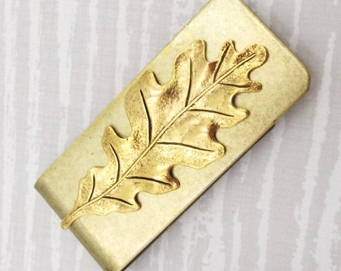 Golden Rustic Gold Brass Oak Tree Leaf Money Clip