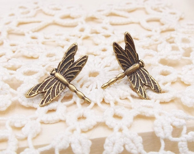 Tiny Dragonfly Bronze Stud Post Earrings