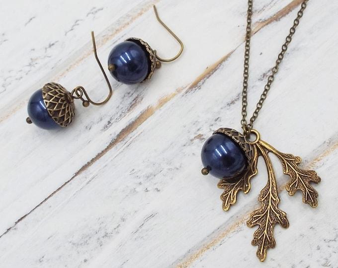 Navy Blue Bronze Pearl Acorn Earrings Pendant Jewelry Set