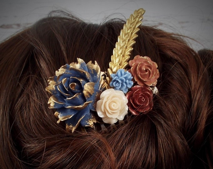Fall Autumn Comb, Bridesmaid Gifts, Festival Bridal Hair Accessory, SERENITY Antique Blue, Stone Blue, Custom Pumpkin, Nutmeg, Hazelnut