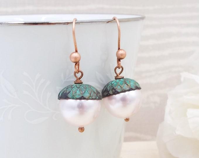 Mint Blush Pale Pink Rose Gold Pearl Acorn Earrings
