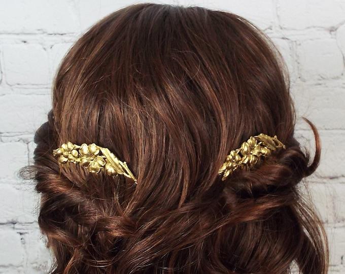 Antique Gold Dogwood Flower Spray Decorative Comb