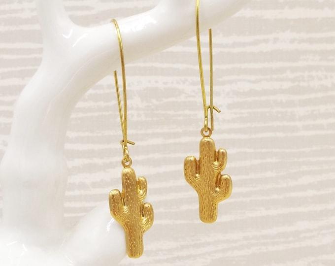 Golden Bras Cactus Long Dangle Earrings