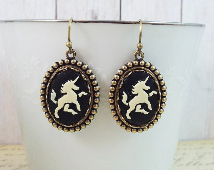 Black Unicorn Cameo Bronze Dangle Earrings