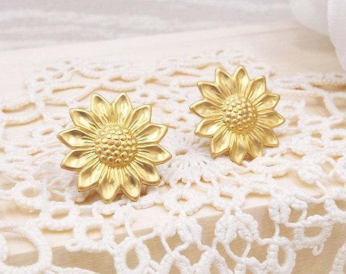 Raw Brass Sun Flower Sunflower Brass Gold Stud Earrings