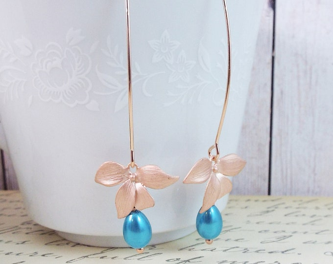 Turquoise Teal Blue Pearl Modern Design Long Dangle Rose Gold Orchid Earrings, Long Ear Wire, Gift for Her, Gift For Mom - Bridesmaid Gifts