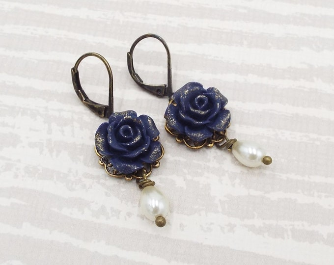Navy Blue Gilt Rose Pearl Bridal Earrings