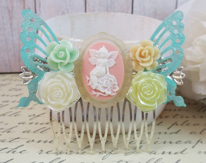 Victorian Mint Green Pink Rose Fairy Bridal Hair Comb - Vintage Hair Accessory