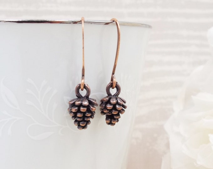 Antique Copper Evergreen Seed Pinecone Earrings
