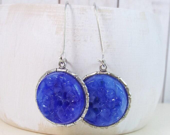 Cobalt Royal Blue Carved Glass Earrings
