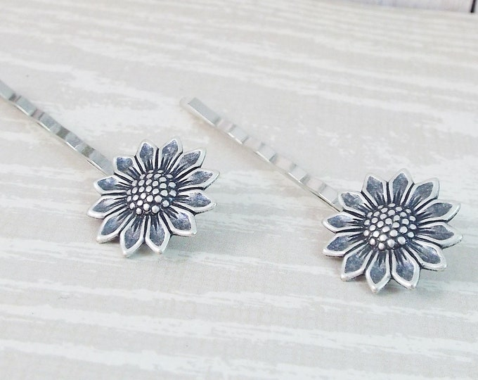 Antique Silver Sun Flower Sunflower Bobby Pins