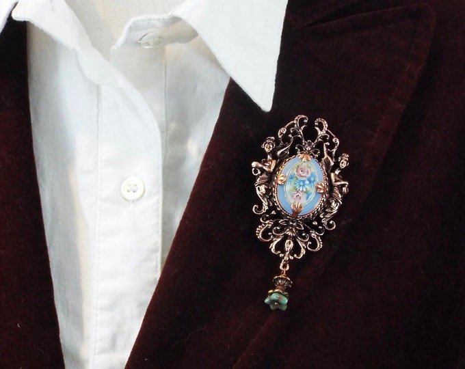 Rose Gold Victorian Floral Cameo Brooch - Antique Art Nouveau Angels, Blue & Pink