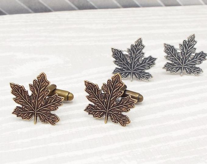 Rustic Maple Leaf Cufflinks Bronze or Silver - Canadian - Men's Accessories Cuff Links Gift for Groomsmen Boyfriend Husband Father Son Dad