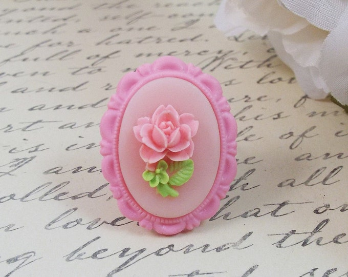Single Perfect Rose Pink Blush Ring - Flower Girl Gift - Floral Cameo Garden Jewelry