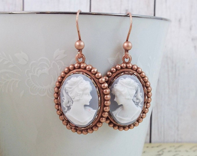 Rose Gold Blue Grecian Cameo Earrings