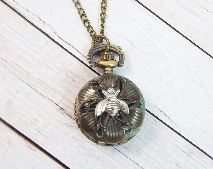 Petite Art Nouveau Bronze Bee Flower Patina Pocket Watch Necklace Pendant - by Split Personality Designs
