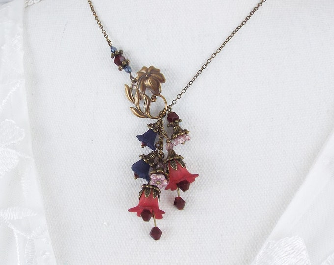 Maroon Red and Navy Tulip Poppy Flower Lariat Necklace