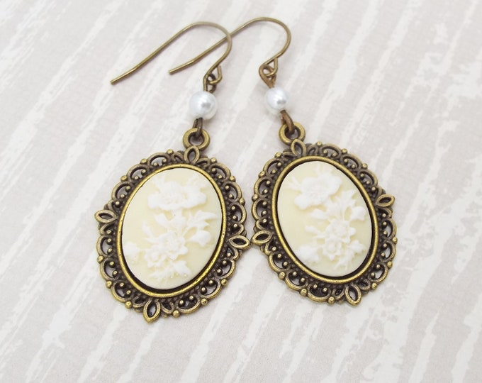 White Ivory Pearl Cameo Bridal Earrings