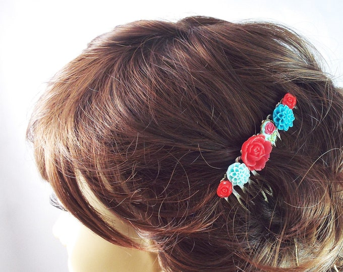 Vintage Red Turquoise Flower Cameo Hair Comb