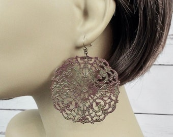 Huge Olive Green Mauve Filigree Statement Earrings - Extra Large Round Moroccan - Gift for Girlfriend Daughter Wife Mother