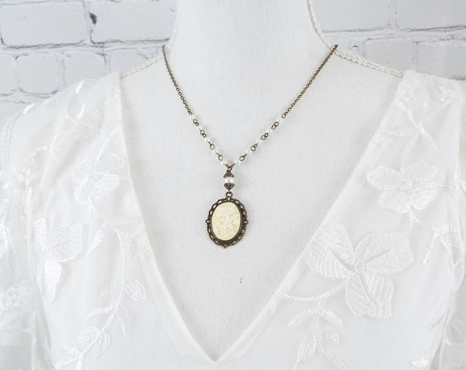 Victorian White and Ivory Flower Cameo Pearl Necklace - Bridal Jewelry - Antique Bronze Floral Pendant Jewelry Set