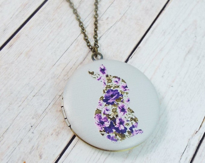 Modern Purple Floral Rabbit Silhouette Keepsake Locket Pendant