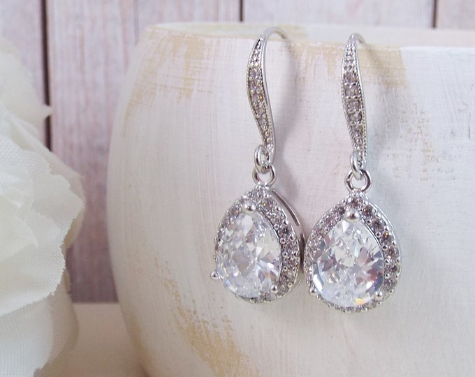 Silver White Gold Crystal Glass Drop Wedding Earrings