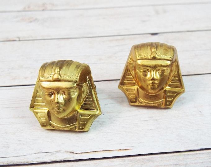 Egyptian Pharaoh Golden Brass Cufflinks