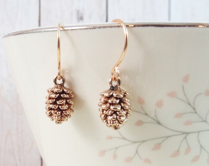 Rose Gold Evergreen Seed Pinecone Earrings