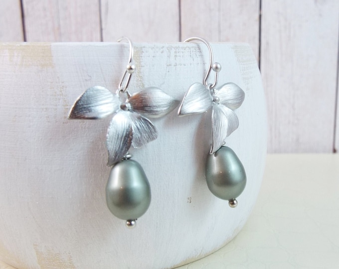 Silver, Matte Rhodium Orchid Flower Sage Pearl Earrings