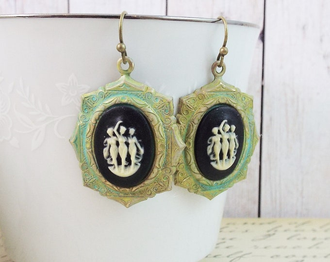Three Muses Grecian Goddess Cameo Verdigris Patina Earrings