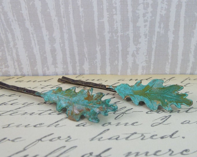 Oak Leaves Verdigris Hair Bobby Pin Set
