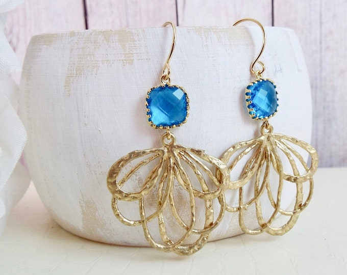 Modern Capri Cobalt Blue Yellow Gold Statement Bridal Earrings - Fan Dance - Bridesmaid Gifts Jewelry Split Personality Designs