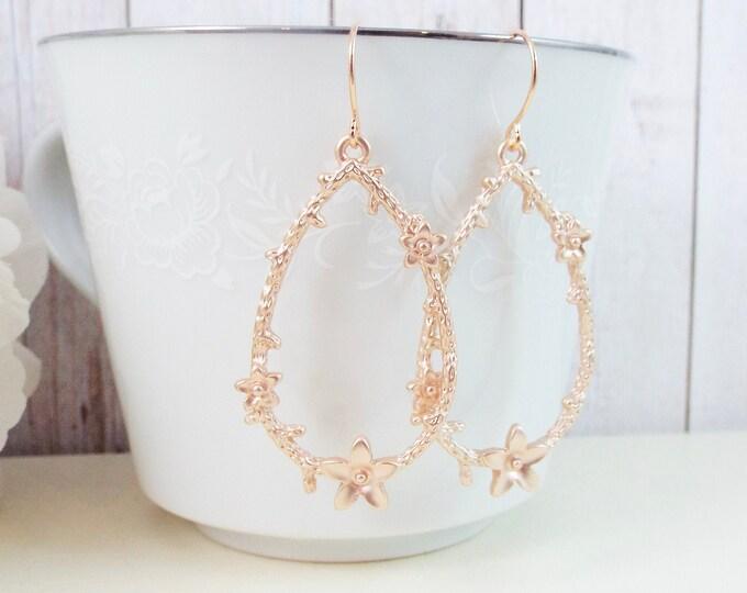 Rose Gold Sakura Branch Twig Teardrop Earrings