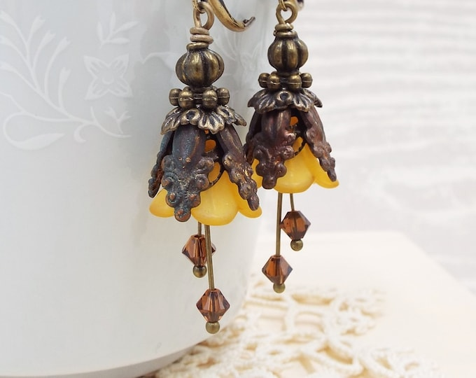 Rustic Antique Gold Mustard Bronze Brown Bridal Floral Earrings