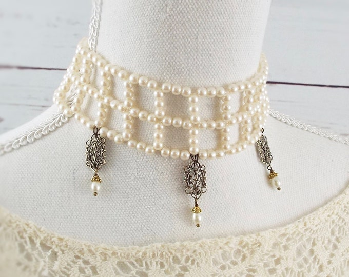 Victorian Bridal Pearl Choker Necklace