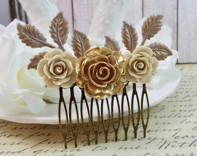 Vintage Ivory Gold Rose Bridal Floral Spray Hair Comb - Vintage Hair Accessory