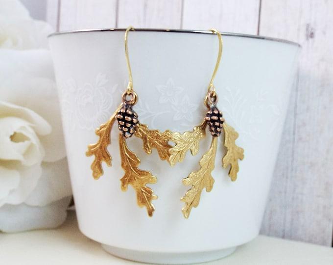 Brass Gold Oak, Antique Copper Pinecone Leaf Earrings
