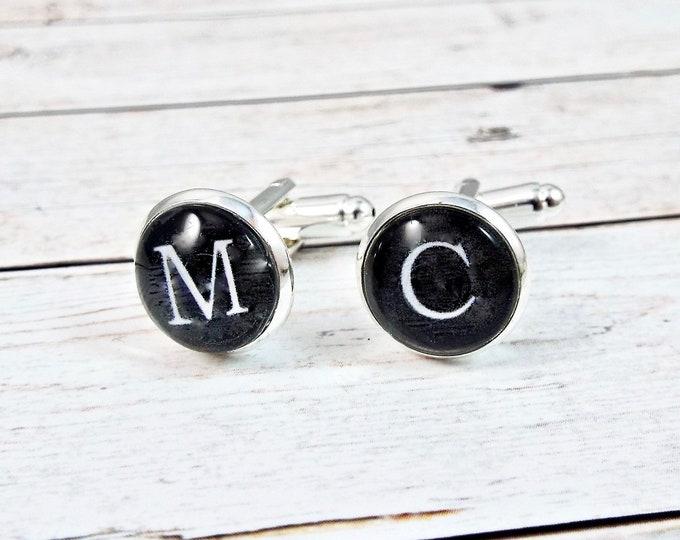 Personalized Initial Cufflinks - Typewriter Alphabet Keys - Steampunk Bronze Silver Groomsmen Wedding Gifts Accessories