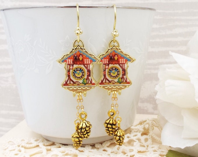 Cuckoo Clock Gold Red Dangle Earrings
