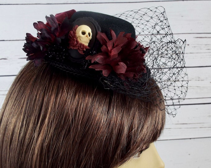 Burgundy Black Sugar Skull Fascinator Mini Top Hat - Dia de los Muertos - Millinery Cage Veil, Flower Floral Halloween Costume, Goth Cosplay