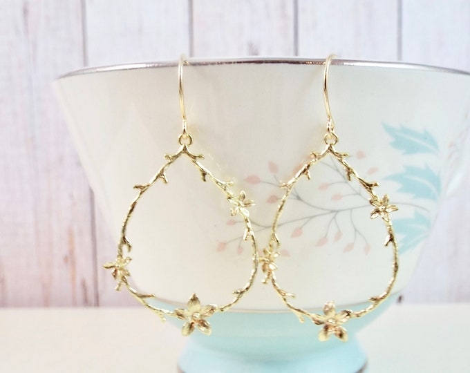 Yellow Gold Sakura Branch Earrings - Cherry Blossom Bridesmaid Gifts, Garden Wedding, Bridal Earrings - Split Personality Designs