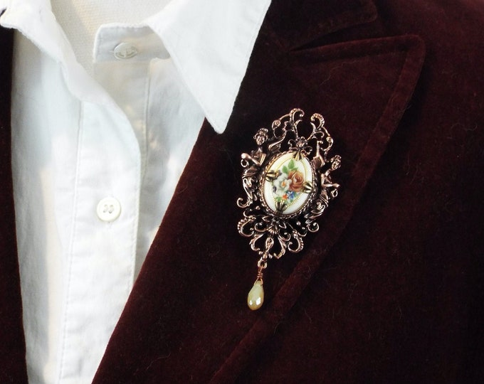 Rose Gold Victorian Floral Cameo Brooch - Antique Art Nouveau Angels